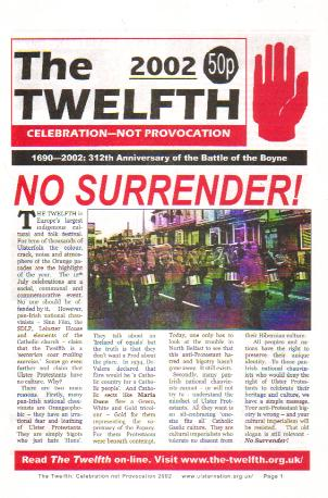 Cover of the 2002 issue of The Twelfth: Celebration not Confrontation.