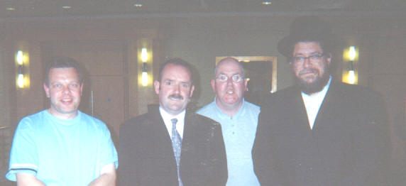 Left to right: John Field, Billy Caldwell, David Kerr and Rabbi Schiller on the evening of the conversation.