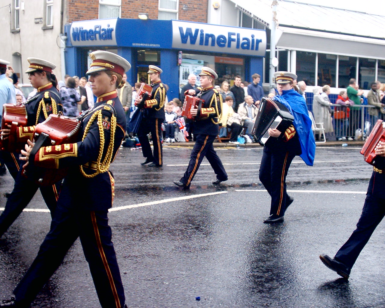 Parkinson Accordion Band on the Lisburn Road on a wet Twelfth morning